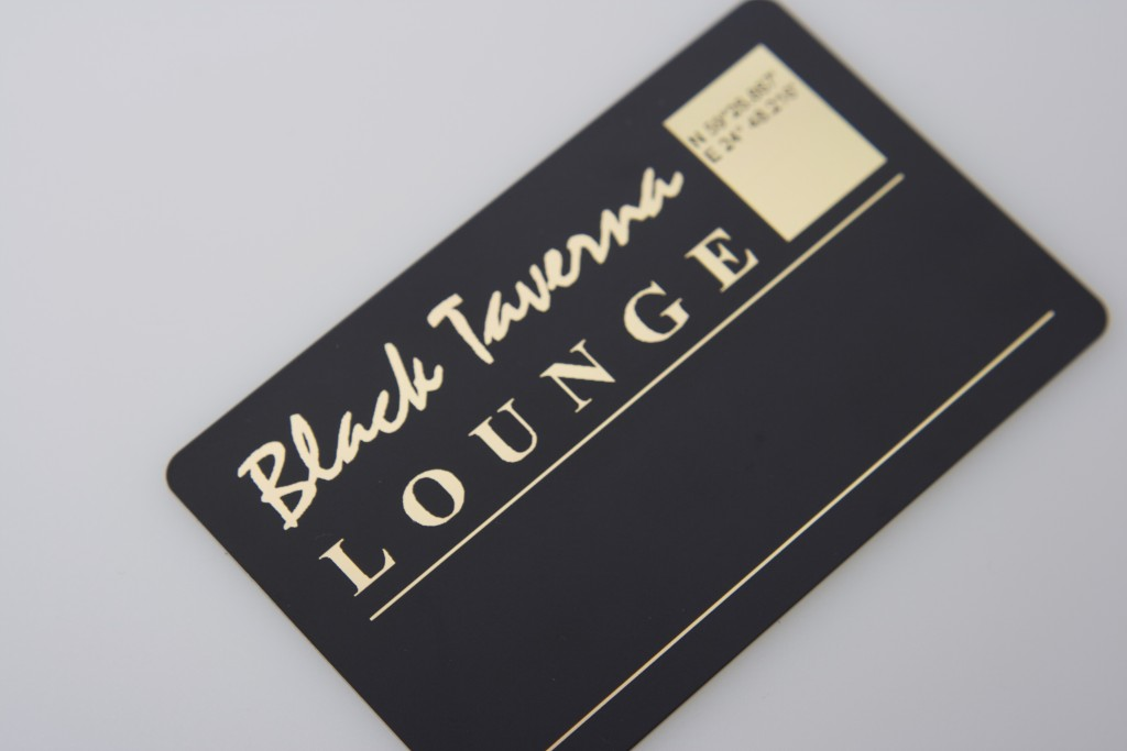 Balck Taverna Lounge plastikkaardid. Fooliumtrükk