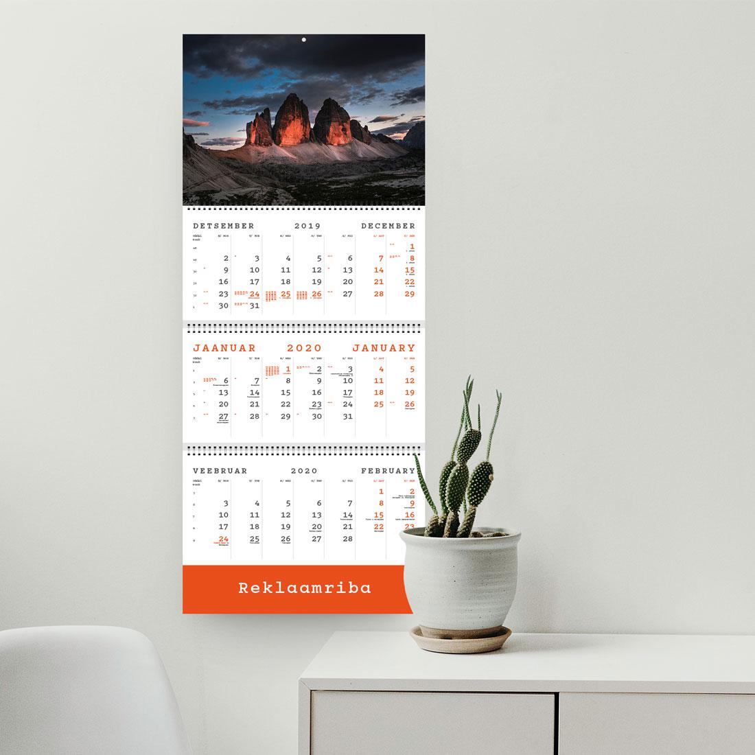 Kalender TRIO EXTRA ühe reklaamribaga